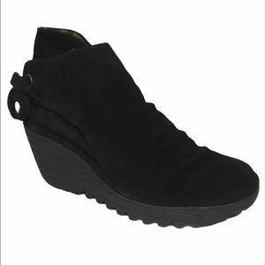 Fly London Yebi Black Suede Wedge Ankle Boots 6